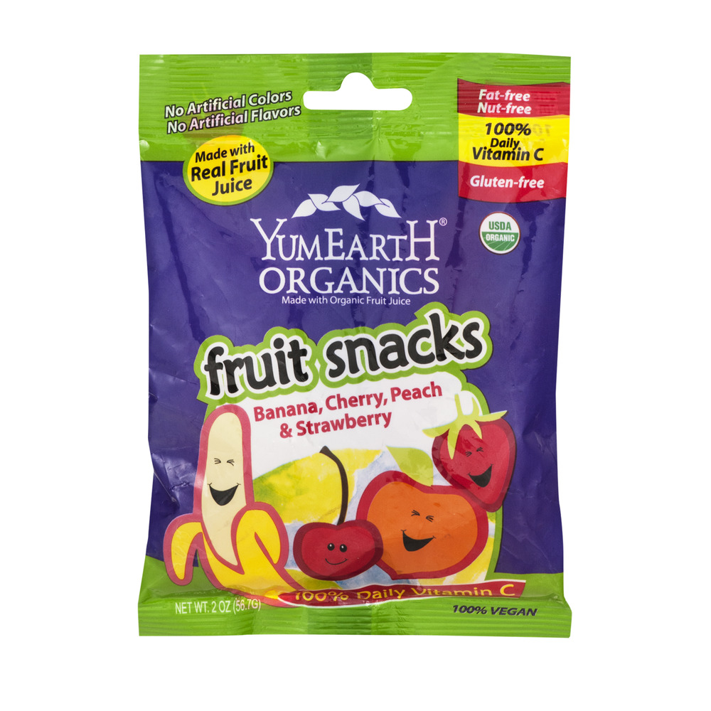 YumEarth Organics Fruit Snacks Banana, Cherry, Peach & Strawberry, 2.0 OZ