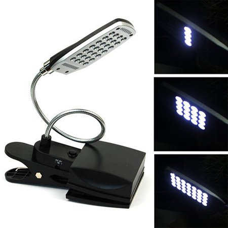 HDE Bright 28 LED 3 Mode Clip On Lamp Flexible Neck Clamp Desk Light (USB or Battery Operated)