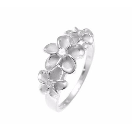 Sterling silver 925 Hawaiian 3 plumeria flower ring cz rhodium plated size 7.5