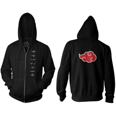 Ripple Junction Naruto Shippuden Adult Anti Village Symbols Full Zip Fleece Hoodie Black Back Zip Sweatshirt