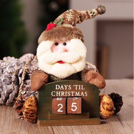 Santas Workshop Countdown Calendar (Merry Christmas Santa Claus/Christmas elk Wooden Advent Calendar Countdown Toy Desk Decoration Home Decor Gift)