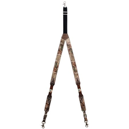 Custom God Bless Texas Realtree AP Camo Leather Suspenders (Custom Suspenders)