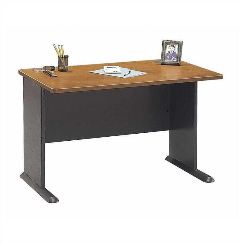 Bush Business Furniture Series A 48W Desk in Natural Cherry and Slate - image 4 de 4