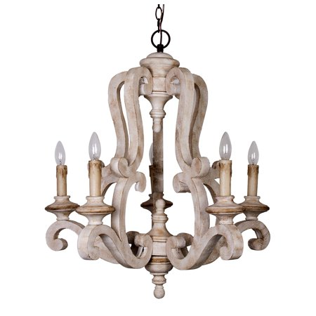 Parrot Uncle Farmhouse Rustic 5-Light Candle Style Wooden Chandeliers Pendant - Rustic Style Chandelier