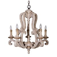 Parrot Uncle Antique Wooden Chandelier Lights with Candle Bulbs 5 Lights Vintage Farmhouse Pendant Ceiling Lights, 39 Inch Adjustable Chain, Beige