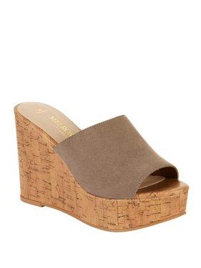 Melrose Ave Vegan Suede Platform Slide Wedge Heel Sandal (Women's)