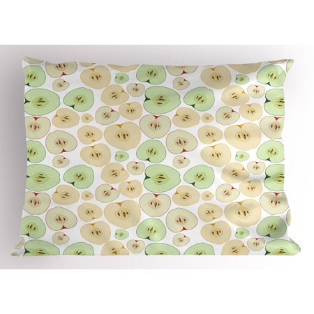 Apple Pillow Sham Fruits Cut In Half Cores And Seeds Of Apples Refreshing Vegetarian Options Abstract  Decorative Standard Size Printed Pillowcase  26 X 20 Inches  Multicolor  By Ambesonne