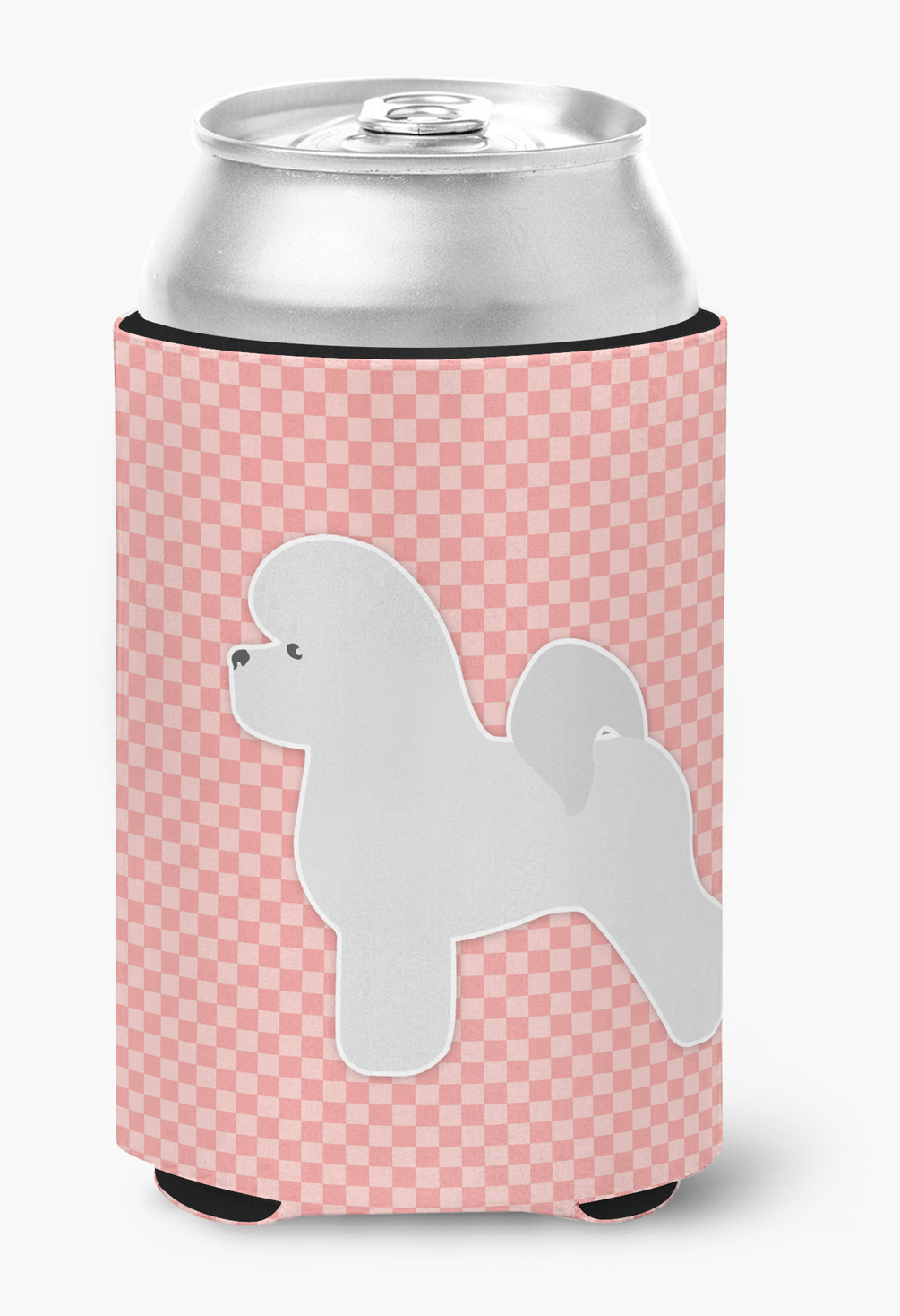 Bichon Frise Checkerboard Pink Can or Bottle Hugger by Caroline's Treasures