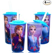 Disney Frozen 2 Elsa & Anna Princess Water Tumblers with Lid, Reusable Straw Set (Pack of 4) - Safe approved BPA free