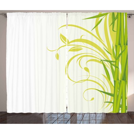 Green Curtains 2 Panels Set Bamboo With Artistic Fl Curly Leaves Asian Feng Shui Zen