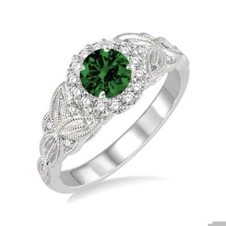 1.25 Carat Antique Round cut Emerald and Diamond Engagement Ring in 14k White Gold affordable emerald and diamond