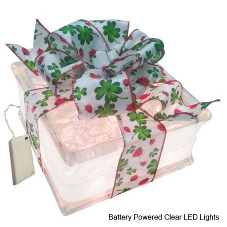 Battery Powered LED Lighted Glass Block with 4