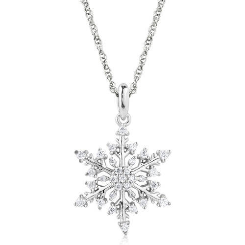 Snowflake 1/4 Carat T.W. Diamond 10K Gold Pendant