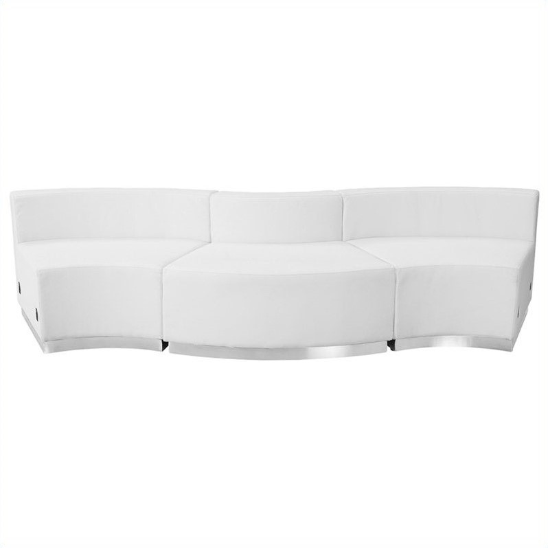 Flash Furniture Hercules Alon 3 Piece Reception Seating in White  sc 1 st  Walmart : sectional white - Sectionals, Sofas & Couches