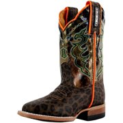 Cinch Western Boots Boys Leopard Print Square Toe Brown Camo KCY121