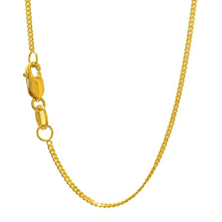14k Gourmette Chain (14k Solid Gold Yellow 0.9mm Gourmette Chain Necklace 18