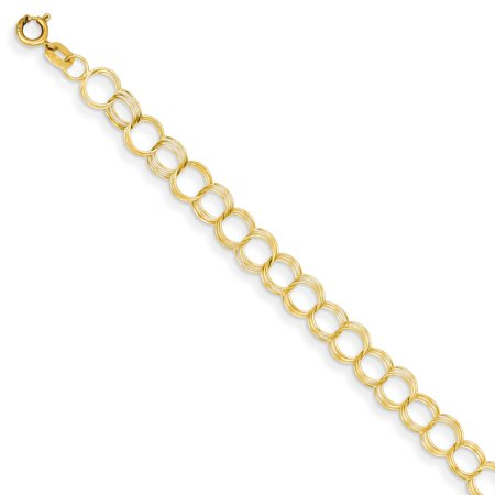 14K Yellow Gold Solid Triple Link Charm Bracelet -8