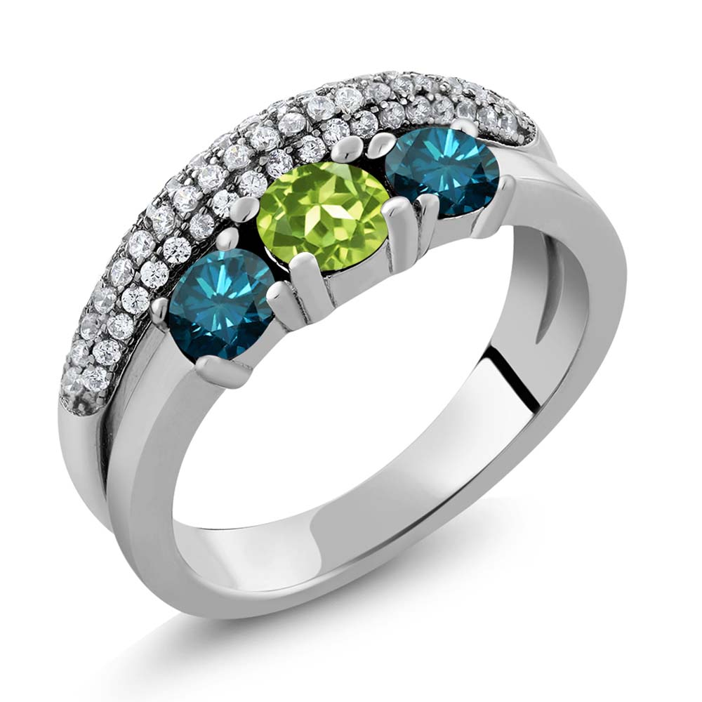 1.75 Ct Round Green Peridot Blue Diamond 925 Sterling Silver Ring