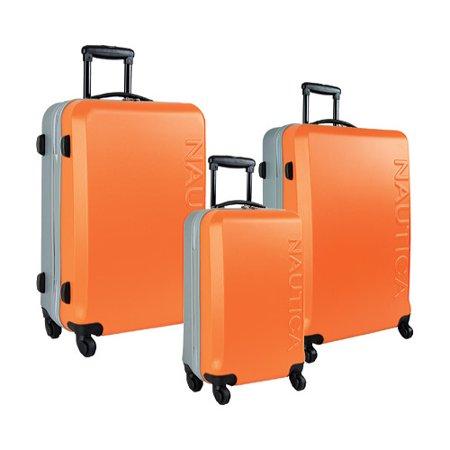 6accbcc72 Nautica - Nautica Ahoy 3 Piece Luggage Set 20RX/24RX/28RX Orange/Silver  OSFA - Walmart.com