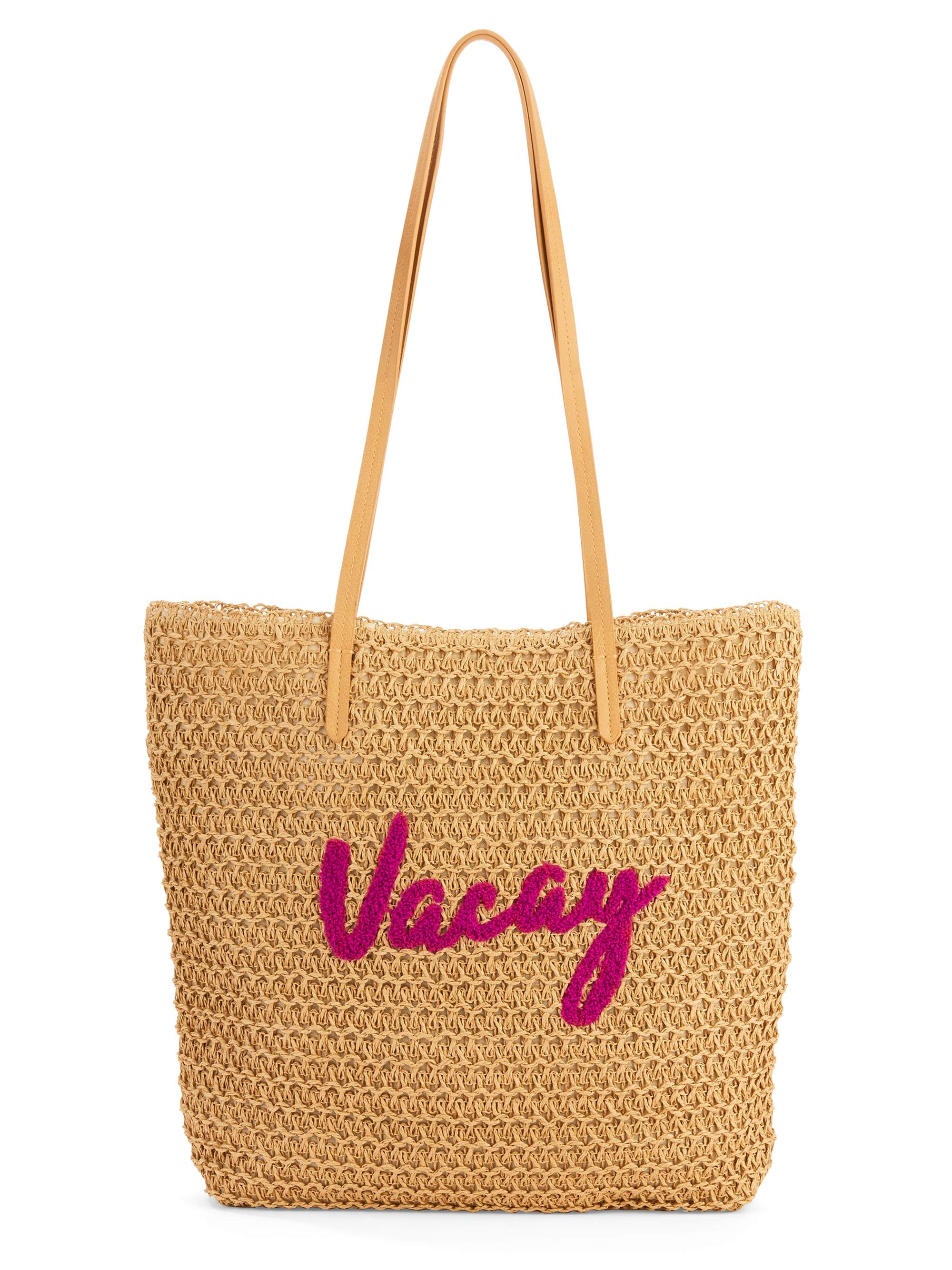 "Time & Tru ""Vacay"" Packable Straw Tote"