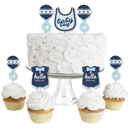 Hello Little One - Blue and Silver - Boy - Dessert Cupcake Toppers - Baby Shower  Clear Treat Picks - Set of 24