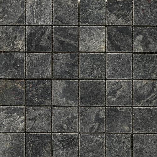 Emser Tile Natural Stone 2'' x 2'' Slate Honed Mosaic in Silver Gray