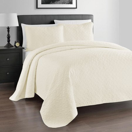 Zaria Quilted Coverlet Set With Stitched Pattern - Pillow Shams Included ()