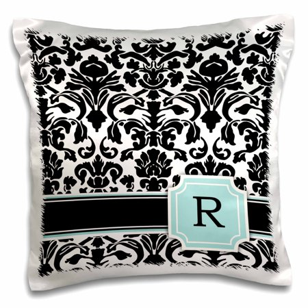 3dRose Letter R personal monogrammed mint blue black and white damask pattern - classy personalized initial - Pillow Case, 16 by 16-inch ()