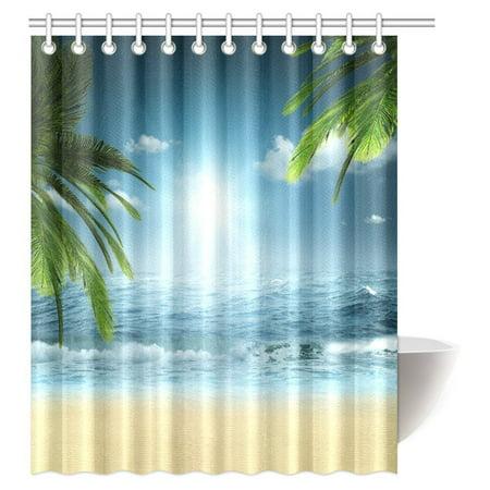 Ocean Theme Decorations (MYPOP Ocean Beach Theme Decorations Shower Curtain, Beach Sunset Ocean Bathroom Decor Shower Curtain Set with Hooks, 60 X 72)
