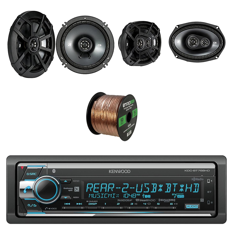 Kenwood Single Din CD/AM/FM Car Audio Receiver W/Bluetooth W/ Kicker 6.5 Inch CS Series 2-Way Black Car Coaxial Speakers Pair, Kicker 6.9 Inch CS Series 3-Way Speakers Pair & Enrock Speaker Wire Cable