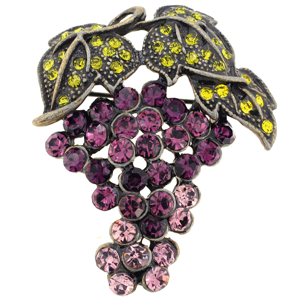 Purple Grape Amethyst Crystal Fruit Pin Brooch by
