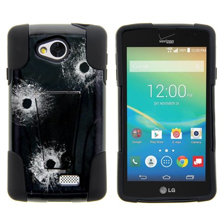 Lg Tribute  Lg Transpyre And Lg Optimus F60 Strike Impact Dual Layered Shock Resistant Case With Built In Kickstand By Miniturtle    Bullet Holes