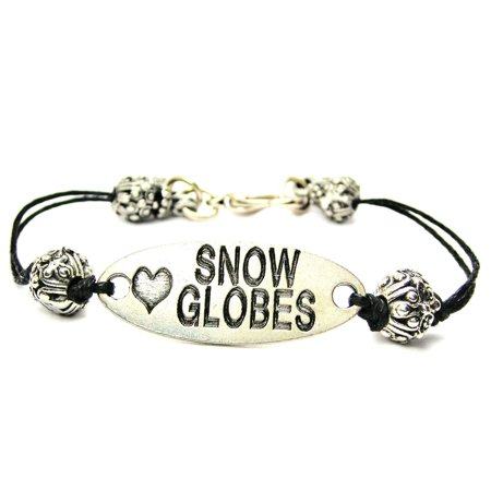 - Love Snow Globes Pewter Plate, Waxed Black Cord Beaded Bracelet