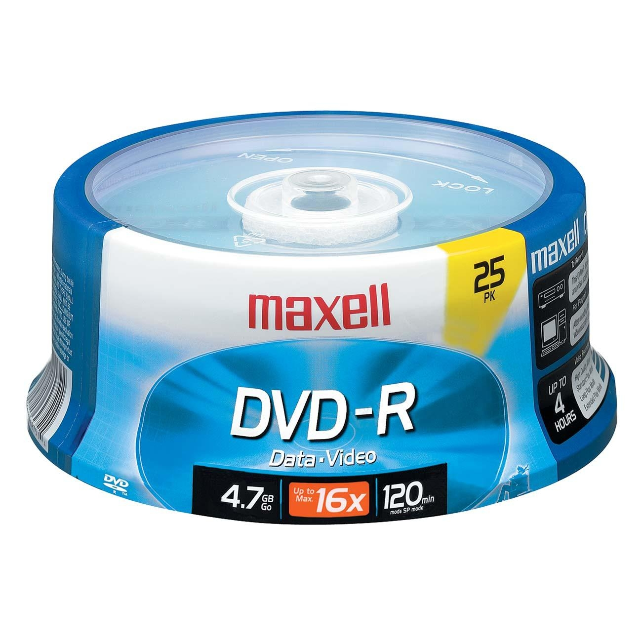 Maxell DVD Recordable Media - DVD-R - 16x - 4.70 GB - 25 Pack Spindle - 120mm - 2 Hour Maximum Recording Time