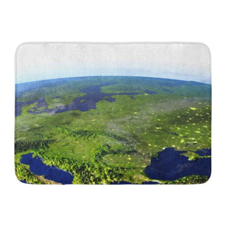 GODPOK Eastern Europe on Model of Earth at Night 3D with Realistic Planet and Visible City Lights This Furnished Rug Doormat Bath Mat 23.6x15.7