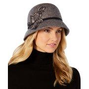 Nine West Women's Flower-Appliqué Wool Felt Cloche Hat (Gray)