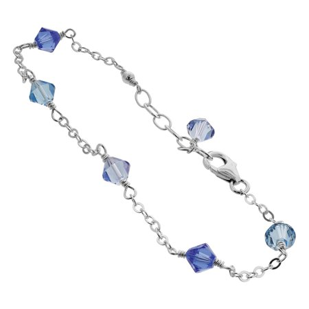 Sterling Silver Swarovski Elements Blue Bicone Crystal Ankle Bracelet