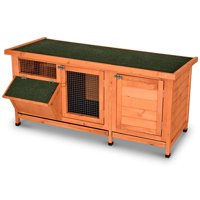 Lovupet Wooden Outdoor Indoor Guinea Pig Cage Bunny Rabbit Hutch with Feeding Trough Coop Pet House for Small Animals with Six Legs 1551S