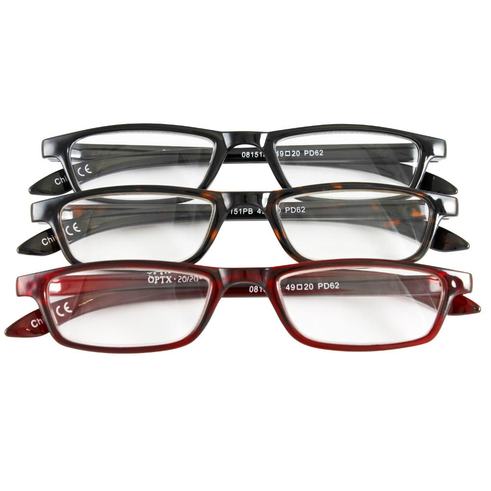 Half Eye Style Magnifying Reading Glasses +4.0 Set of 3 Pairs ValuPac