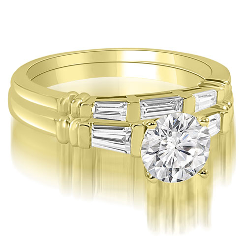1.50 CT.TW Round And Baguette Cut Three Stone Diamond Bridal Set in 14K White, Yellow Or Rose Gold