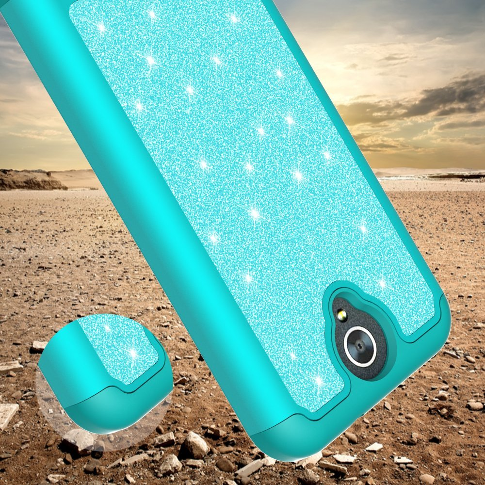 ZTE ZMAX Grand, ZTE Champ, ZTE Avid 916, ZTE Grand X 3 Case, Glitter Bling Hybrid Case with [HD Screen Protector] Dual Layer Protective Phone Case Cover for ZTE ZMAX Grand/Champ - Mint - image 2 de 5