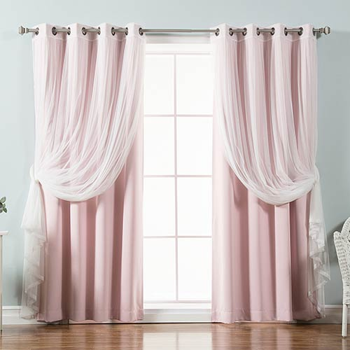 Light Pink 52 x 96 In. Sheer Lace and Blackout Window Treatments, Set of Four