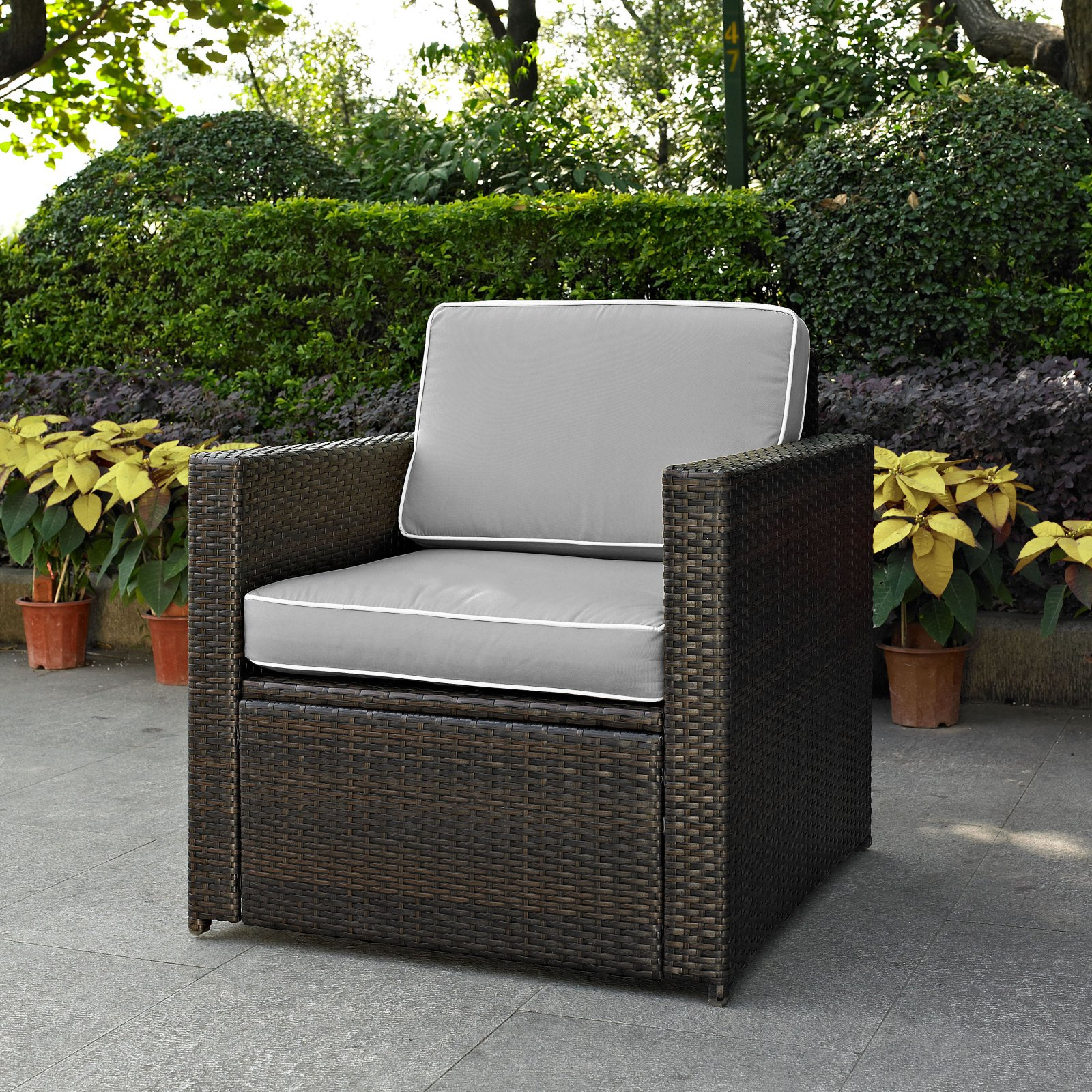 Crosley Furniture Ko70088br Gy Palm Harbor Resin Wicker Outdoor Arm Chair Brown Grey