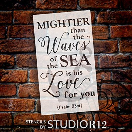 Wave Border Stencil (Mightier Than the Waves - Anchor - Psalm 93:4 Stencil - 2 Part by StudioR12 | Reusable Mylar Template | Use to Paint Wood Signs - Wall Art - Pallets - Pillows - Scripture - SELECT SIZE (19