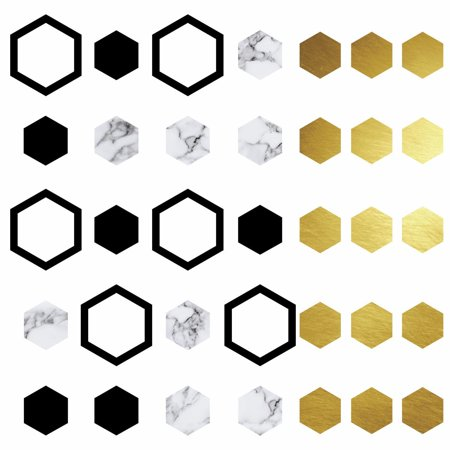 - Hexagon Peel And Stick Wall Decals With Foil