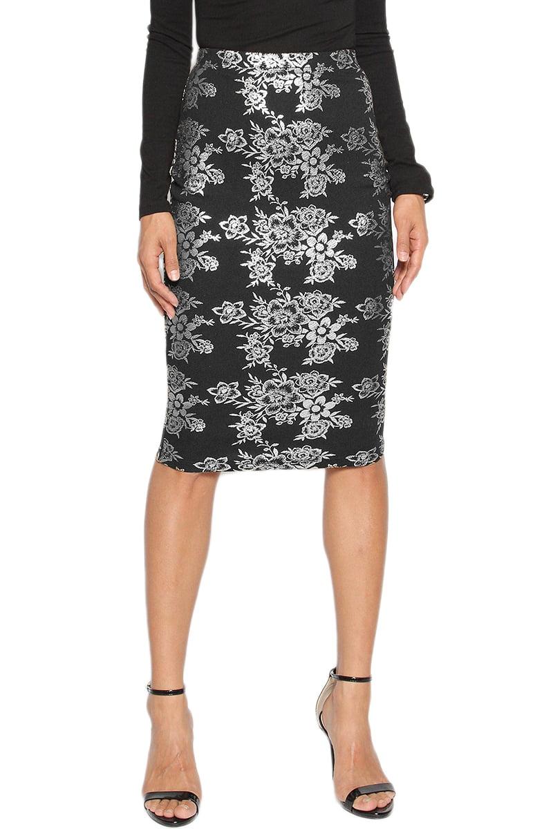 TheMogan Women's Occasion Floral Print Knee Length Pencil Midi Skirt Teal 1XL