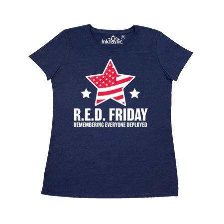 Red Friday Remembering Everyone Deployed with Red American Flag Women's T-Shirt