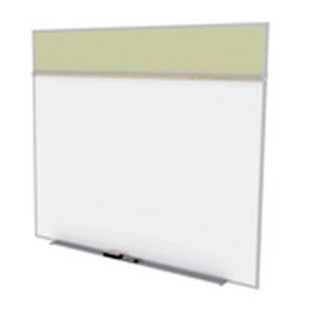 Ghent SPC58A-V-181 5 ft. x 8 ft. Style A Combination Unit - Porcelain Magnetic Whiteboard and Vinyl Fabric Tackboard - Caramel