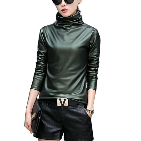 d379bc833f7ae FRESHLOOK - Sexy Women Pu Leather Blouse Turtleneck Long Sleeve Faux leather  Wet Look Strechy T-shirt High neck Ladies Tops Plus Size - Walmart.com