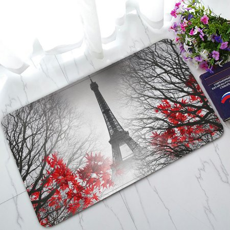 PHFZK Cityscape Doormat, Eiffel Tower in Paris and Red Tree Doormat Outdoors/Indoor Doormat Home Floor Mats Rugs Size 30x18 -
